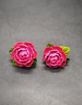"Button earrings ""Pink peony"""